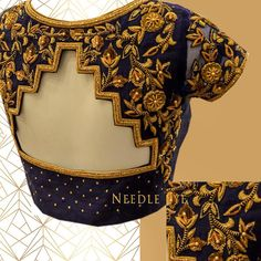 The geometric back design that you will absolutely love. Beautiful blue color designer blouse with heavu floret lata design hadn embroidery gold thread work.  17 March 2018