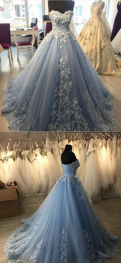 Elegant Lace Appliques Light Blue Tulle Ball Gowns Quinceanera Dresses lace embroidery sweetheart light blue tulle ball gowns prom dresses 2018 elegant engagement dress for wedding party Blue Ball Gowns, Tulle Ball Gown, Ball Gowns Prom, Ball Gown Dresses, Wedding Gowns, Lace Wedding, Tulle Balls, Women's Dresses, Prom Dresses 2018