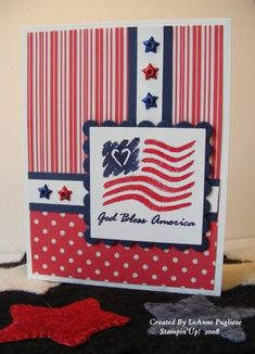 God Bless America using Stampin Up God Bless America 2001 special edition stamp and star eyelets Homemade Greeting Cards, Greeting Cards Handmade, Homemade Cards, 4th Of July Celebration, Fourth Of July, American Card, Military Cards, Scrapbook Paper Crafts, Scrapbooking