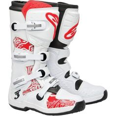 Bota Moto Off Road Alpinestars Tech 3 - Branca com Vermelho - Masada Moto Peças Motorcycle Helmets For Sale, Motorcycle Shoes, Motorcycle Jackets, Moto Off Road, Bluetooth Motorcycle Helmet, Womens Harley Davidson Boots, Motorbike Leathers, Super White, Super Cars