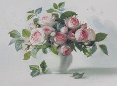 Этюд с чайными розами. АКВАРЕЛИ Елены БАЗАНОВОЙ