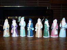 Lot of 8 Belsnickle Santa figures porcelain Old World hand painted multi-colored