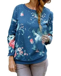 ZANZEA Womens Crew Neck Long Sleeve Floral Print Pullover Sweatshirt Hoodie Tops Floral US 14/ASIAN 3XL - Brought to you by Avarsha.com