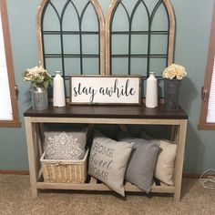 23 Inviting Beige Living Room Design Ideas to Bring a New Dimension to Your Home - The Trending House Plywood Furniture, Furniture Ideas, Annie Sloan, Diy Rustic Decor, Rustic Living Room Decor, Rustic Farmhouse Decor, Farmhouse Chic, Farmhouse Furniture, Farmhouse Entryway Table