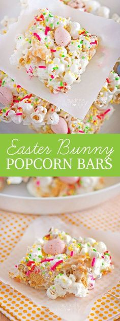 Bunny Popcorn Bars An easy, tasty snack that kids and adults alike won't get enough of!An easy, tasty snack that kids and adults alike won't get enough of! Mini Desserts, Easy Desserts, Dessert Recipes, Recipes Dinner, Yummy Easter Recipes, Diabetic Desserts, Delicious Recipes, Popcorn Bar, Easter Snacks