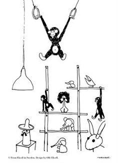 Deze Monkey poster is ontworpen door Olle Eksell, een grafisch ontwerper uit Zweden. Hij is waarschijnlijk het meest bekend om de cacao ogen die hij in 1956 voor Mazetti ontwierp. De Monkey poster heeft een charmante illustratie met Scandinavisch design klassiekers als het houten aapje- en olifant van Kay Bojesen. De poster is door zowel kinderen als volwassenen geliefd en is een leuk detail op de muur!  Hebbes!