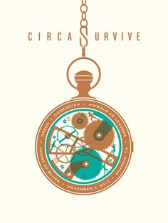 DKNG (Dan Kuhlken + Nathan Goldman) - Circa Survive pocket watch, two color process, print