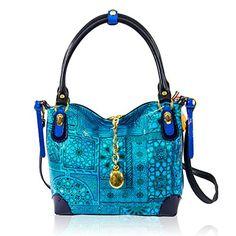 Marino Orlandi Italian Designer Blue Patent Abstract Printed Leather Purse Handbag