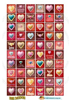 INCHIES 1x1 inch squares valentine theme. $3.50 #inchies