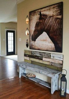 nice rustic entryway bench with a cool horse pic - very modern western with farmhouse