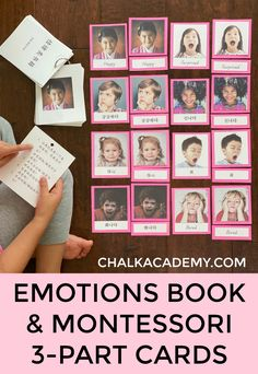 Encourage observation, empathy, and respectful discussion with a free emotions book and Montessori cards in English, Chinese, and Korean. Baby Learning, Learning Activities, Learning Tools, Montessori Books, Montessori Preschool, Emotional Abandonment, Emotions Cards, Learn Chinese, Social Emotional Learning