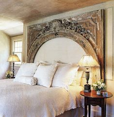 Old Weathered Wood Architectural Piece As A Headboard Ideas Unique
