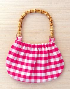 pink gingham girls purse