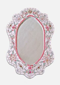 Chris Zonta :: This updated Victorian Style mirror is made with old & antique china plates, tile and pink porcelain roses.