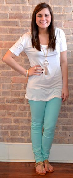 The color of these mint skinny jeans is so perfect.  Make a cute and casual outfit with a simple pocket tee, a long necklace, and some sandals.  Fall fashion by Studio 3:19