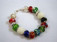 Large Bead Christmas Bracelet by PinkChapeau on Etsy