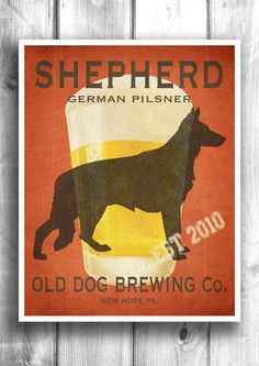 German Shepherd Typographic print Beer poster Wall decor Wall by Happy Letter Shop