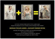Signature White Wedding Invitations Romantic Math - Front : Passion