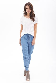 Woven Chambray Joggers | LOVE21 - 2000086254