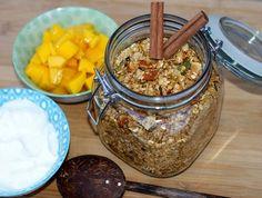 Granola med kanel – Berit Nordstrand Granola, Pudding, Sugar, Desserts, Food, Alternative, Tailgate Desserts, Deserts, Custard Pudding