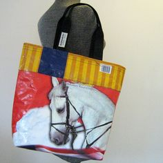 Recycled Horse Feed Bag Tote w/ pocket by OneWomanStudio on Etsy, $39.00