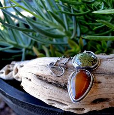 Turquoise pendant. Carnelian necklace. Sterling Silver by Arrok