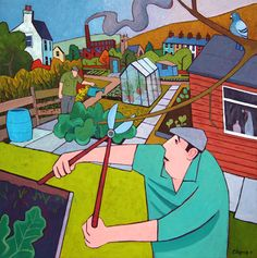Chris Cyprus Garden Painting, Garden Art, Allotment Gardening, Finger Art, Naive Art, Source Of Inspiration, Some Pictures, Storytelling, Folk Art