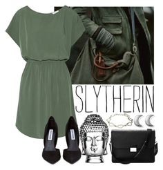 """""""Formal Wear #2 Slytherin"""" by leah1992 ❤ liked on Polyvore featuring Splendid, Steve Madden, Aspinal of London, Abbyson Living, ChloBo, slytherin, hogwarts, formal, magic and formalwear"""