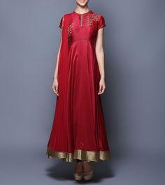 Wine Sequined Chanderi & Net Anarkali Suit