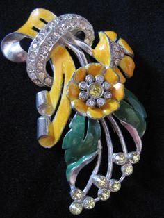 d84e5850a Vintage Large Coro Enamel and Rhinestone Floral Fur Clip. Old JewelryAntique  ...