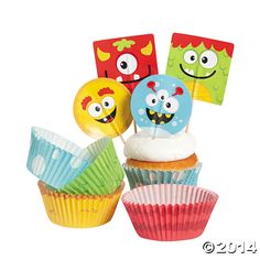 Mini+Monster+Baking+Cups+with+Picks+-+OrientalTrading.com