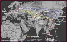 The Silk Route and Central Asia by Train. The most usual route from Europe to China is via the classic Trans-Siberian Railway, shown in blue on the map below. But there is another route now open to foreigners, the so-called 'Silk Route' via Kazakhstan, shown on the map in yellow. You can also use trains to reach Central Asia from Europe and Moscow. This page will explain routes, train times, costs and how to buy tickets.