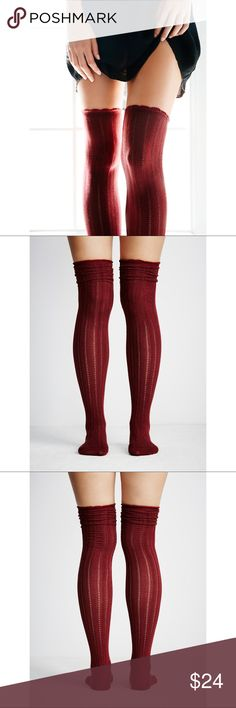 "FREE PEOPLE over the knee knit socks Completely sold out style so it was hard to find a picture of it. Actual color is ""rust"", seen in last two photos. The first three photos show what the socks will look like on.   Size: one size fits womens 5-10 Retail: $24  - Absolutely love this item, but don't like the price? Submit an offer using the offer button and we can try to work something out 😊 Free People Accessories Hosiery & Socks"