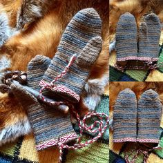Nalbinded Mittens as 10th century viking mittens grave finds from Iceland and Sweden. Made to order. Handmade finished with tablet weave to the cuff and a bronze ring to attach to your coat. Mittens made in 100 % wool and Jacobs wool All natural colours. Piebald Sheep or Jacobs as they are