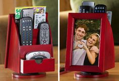 Red Remote Organizer w/ Photo Holder Home Organization Hacks, Organizing, Home Crafts, Diy And Crafts, Tv Remotes, Remote Control Holder, Home Decor Catalogs, Unique Gifts For Him, Collections Etc
