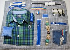 Masculine Blue Plaid Shirt on Fidget, Sensory, Activity Quilt Blanket by TotallySewn on Etsy