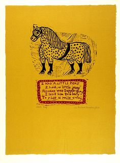 Artist: HANRAHAN, Barbara | Title: I had a little pony | Date: 1962 | Technique: linocut, printed in colour, from two blocks