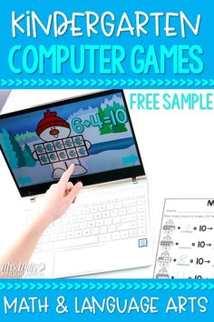 Fun, math and literacy computer games for kindergarten! Monthly-themed games with exit tickets! Great for centers or whole-group activities. Check out the FREE sample! Literacy Games, Kindergarten Lesson Plans, Literacy Stations, Kindergarten Lessons, Math Games, Fun Math, Literacy Centers, Fun Games, Engage In Learning