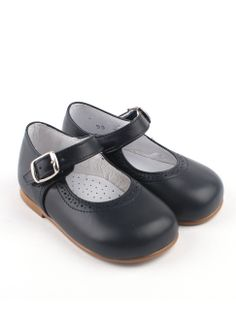 handmade classic navy blue leather girls shoe