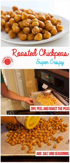 Crispy Roasted Chickpeas (Garbanzo Beans) Recipe - super crunchy golden brown| steamykitchen.com ~ http://steamykitchen.com