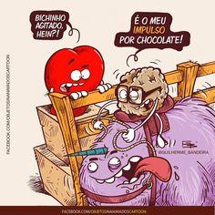 Esse bichinho não para... #impulso #chocolate #chocolates #loucoporchocolate #coracao #cerebro #razao #emocao #guilhermebandeira #rabiscos #tirinhas #desenhos #charges #instacartoon #cartoon Funny Cartoons, Funny Memes, Little Bit, Good Humor, Faith Hope Love, Funny Love, Comic Strips, Comic Art, Haha