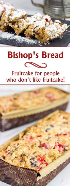 Dorothy's Bishop's Bread is perfect for the holidays! It's fruitcake for people who don't like fruitcake! Baking Recipes, Cake Recipes, Dessert Recipes, Desserts, Bread Recipes, Baking Breads, Fruit Recipes, Christmas Bread, Christmas Cooking