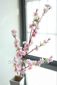 """Aliexpress.com : Buy 49.22"""" Artificial Cherry Plum Spring Peach Blossom Spray Branch Silk Flower Tree Beautiful Home Decoration Free Shipping 5PCS from Reliable flower house decoration suppliers on ZongHua Wu's store 