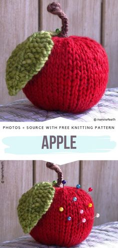 Fruity Knits Free Patterns - - Celebrate the summer with these Fruity Knits because they`re fun and easy to make. You can place them as a table decoration so think about a whole basket. Knitted Bunnies, Knitted Flowers, Crochet Bunny, Free Crochet, Knitted Flower Pattern, Crochet Apple, Animal Knitting Patterns, Christmas Knitting Patterns, Crochet Patterns