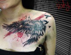 crow trash polka tattoo