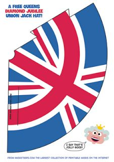 Here's another quick freebie for the Queens Jubilee. Print out and make as many Union Jack Hats as you like here for your Jubilee street . Printable Masks, Printables, Free Printable, English Day, British Hats, Queen 90th Birthday, London Party, Royal Party, Union Flags