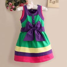 Girls Big Purple Bow Green Sleeveless Party Skirt Kids Formal Dress