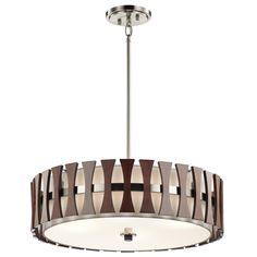 Shown in Auburn Stained Finish finish and Tempered Etched glass and White Linen shade Drum Pendant, Pendant Chandelier, Ceiling Pendant, Ceiling Fixtures, Pendant Lighting, Light Pendant, Round Pendant, Light Auburn, Semi Flush Ceiling Lights