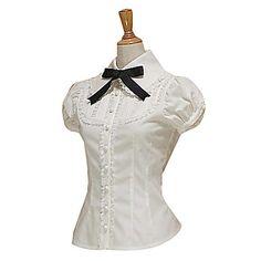 Short Sleeve White Cotton Black Cravat Sweet Lolita Blouse – USD $ 63.99
