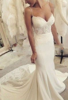 White/ivory Lace Satin Spaghetti Straps Mermaid Wedding Dress